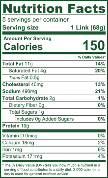 Natural Uncured Smoked Beef Jalapeno Sausage Nutritional Facts