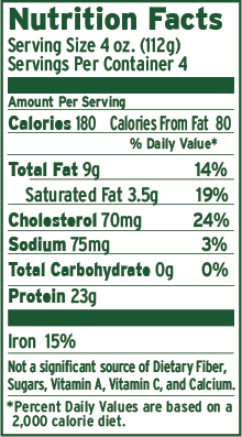92-8 Ground Beef Brick Nutritional Facts