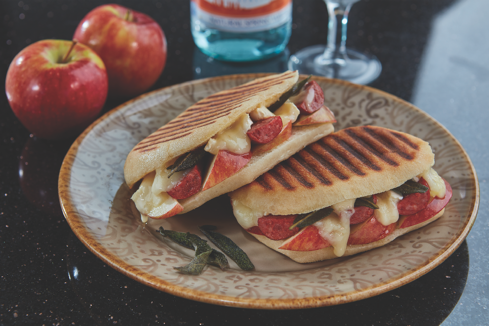 panini with polish sausage and apples